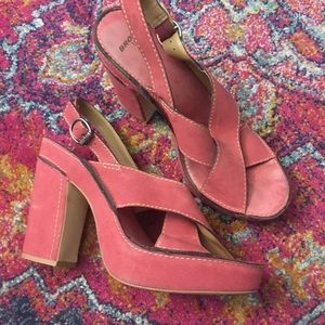 Awesome Bronx pink suede platform sandals 41